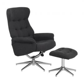 Кресло с табуретка – Davina сиво