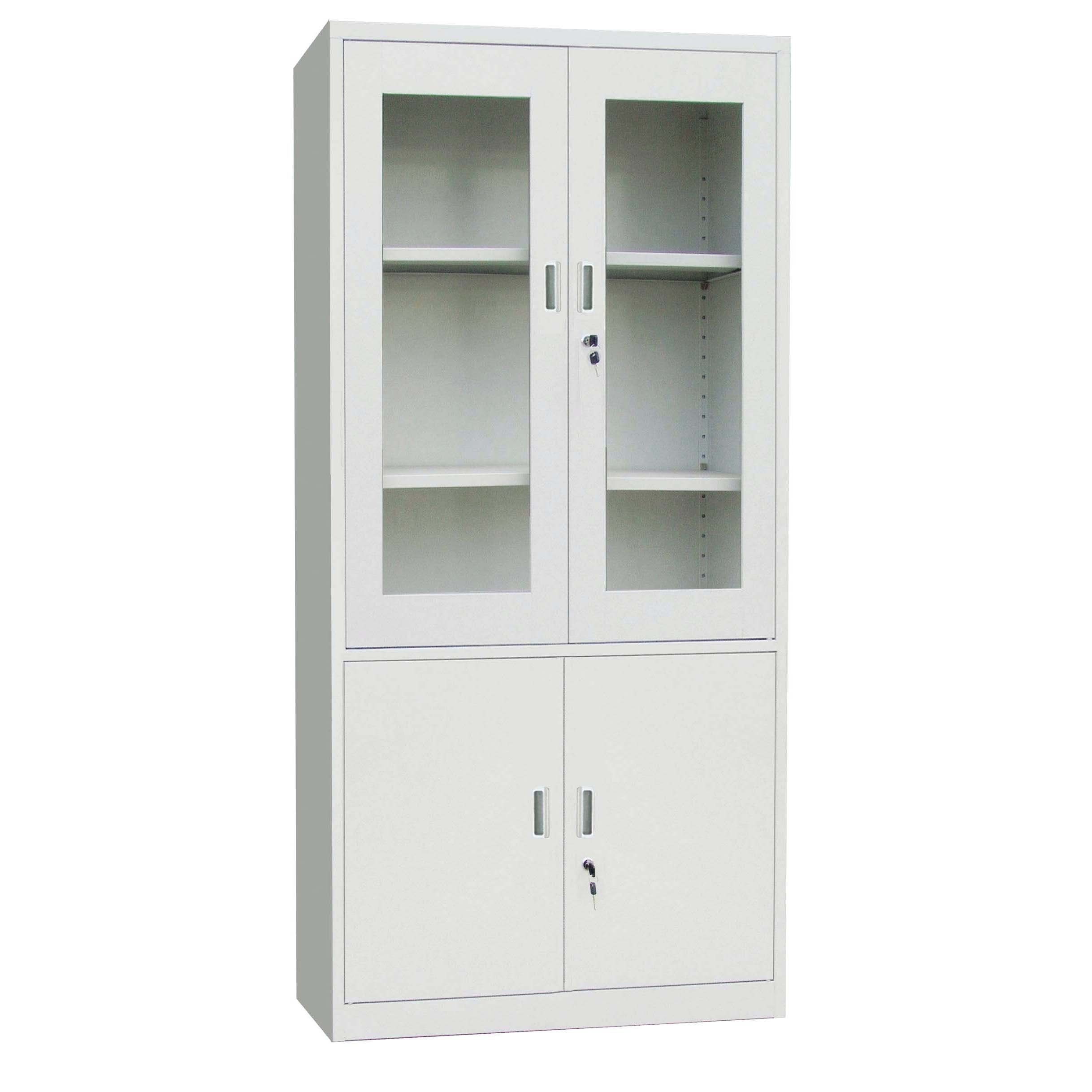Метален шкаф с 1/2 стъклени витрини