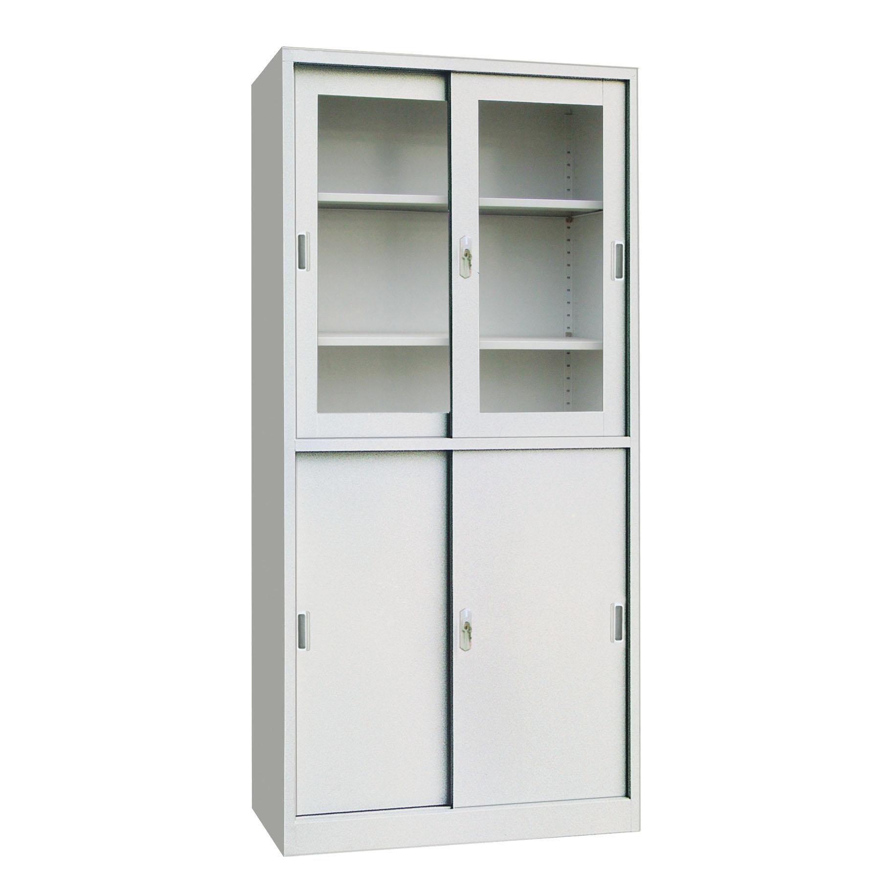 Метален шкаф с плъзгащи врати с 1/2 стъклени витрини
