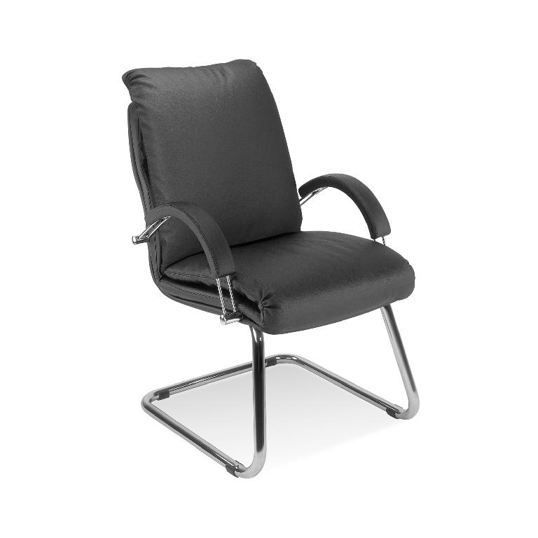 Посетителски стол Nadir Steel - черен еко кожа