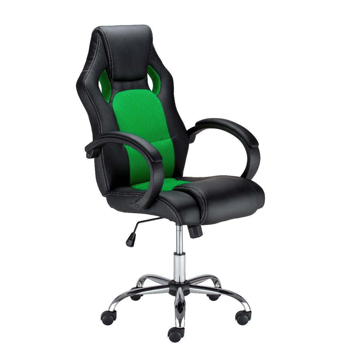 Офис стол Race Steel - черно/зелен