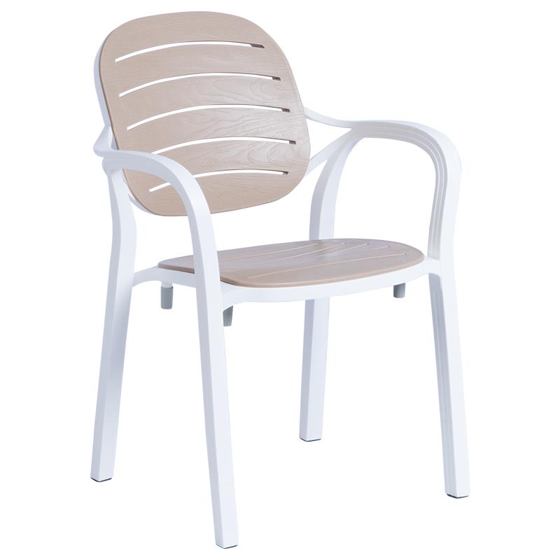 Градински стол RUMBA - бял/бежов