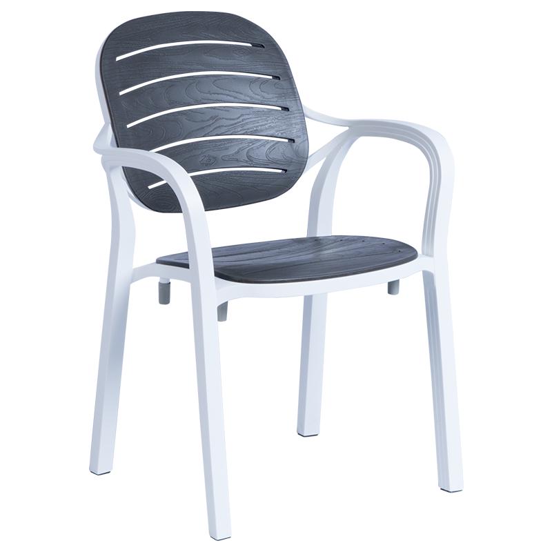 Градински стол RUMBA - бял/антрацит