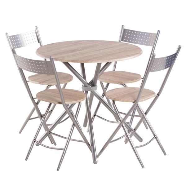 Маса с 4 сгъваеми стола 20016 - дъб сонома 2