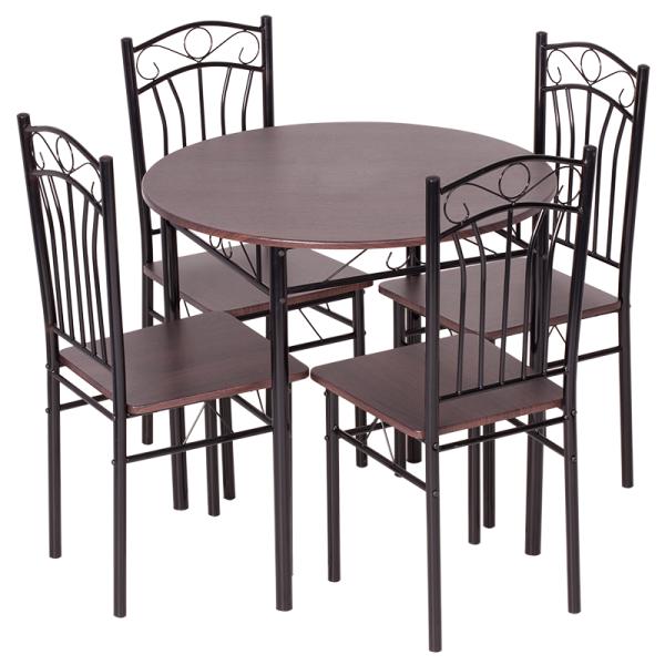 Маса с 4 стола - тъмен орех 2