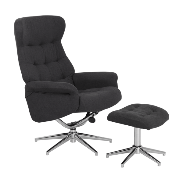 Кресло с табуретка - Davina сиво