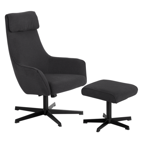Кресло с табуретка - Erica асфалтово сиво