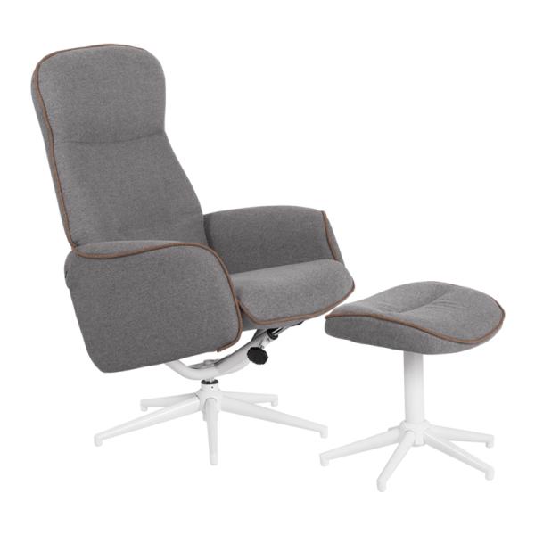 Кресло с табуретка - Una сиво