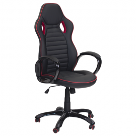 Офис стол 7502 – черен/червен