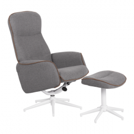 Кресло с табуретка – Una сиво