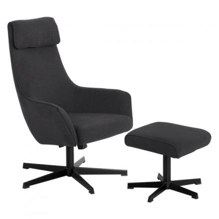 Кресло с табуретка – Erica асфалтово сиво